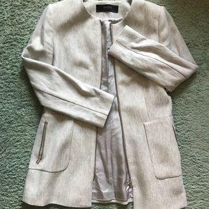 ZARA Longline Collarless Blazer Grey XL